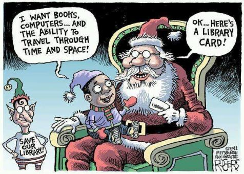Santa Library Card cartoon